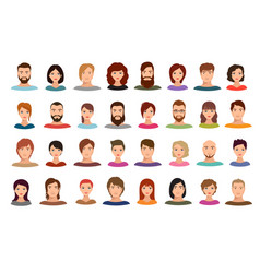 Women and men business people team avatars vector