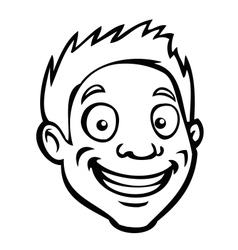 Black and white male cartoon head vector image