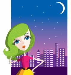 city girl at night vector image