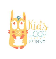 kids logo funny squirrel original design baby vector image vector image