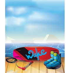 wake boarding park background vector image vector image