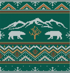 winter knitted woolen pattern with polar bears vector image