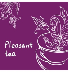 Cup of Tea with Leaf vector image