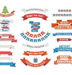 Different retro style christmas ribbons set vector image vector image