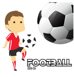 football text boy playing football background vect vector image