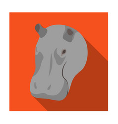 hippopotamus icon in flat style isolated on white vector image