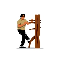 Wing Chun kung fu Man at a wooden dummy vector image vector image