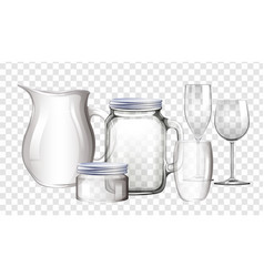 different types of containers made of glass vector image vector image