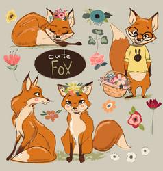 set with cartoon fox vector image vector image