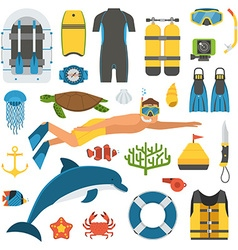 Skin Diving and Snorkeling Set vector image vector image