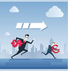 business people group run holding dollar and euro vector image