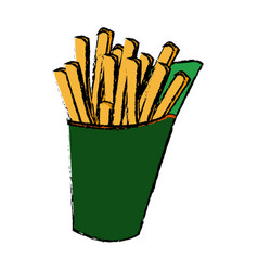 french fries fast food tasty takeaway vector image