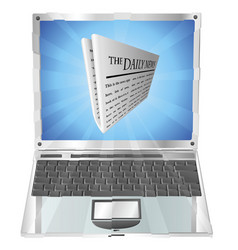 newspaper laptop concept vector image vector image