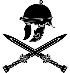 roman helmet and swords first variant vector image vector image
