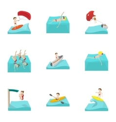Water sport icons set cartoon style vector image