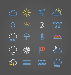 Weather forecast color web icons collection vector image vector image