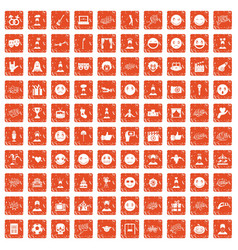 100 emotion icons set grunge orange vector image