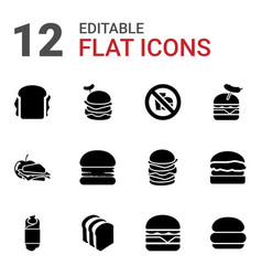 12 sandwich icons vector