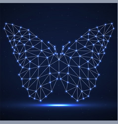 Abstract neon butterfly of lines and dots vector