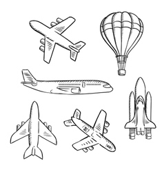 Airplanes space shuttle hot air balloon sketches vector image vector image