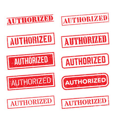 authorized rubber stamp set on white background vector image
