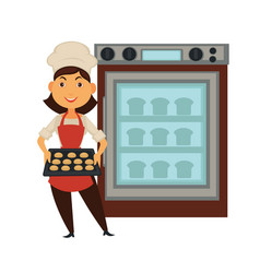 Baker woman in bakery shop baking bread in oven vector