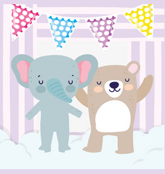 Bashower cute elephant and bear with bunting vector