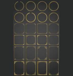 big gold set of decorative rectangle square vector image