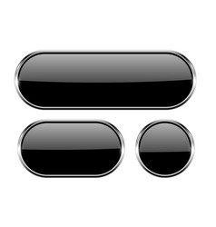 black oval glass buttons with metal frame set of vector image