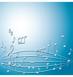 blue background with gradient and music notes vector image