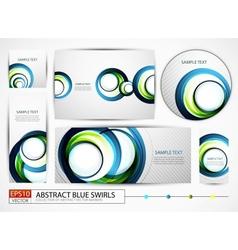 Blue swirl banners set vector