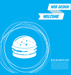 burger sandwich hamburger icon on a blue vector image