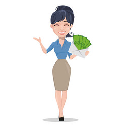 Business woman holding envelope full of money vector