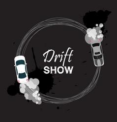 Car drift card drift show vector