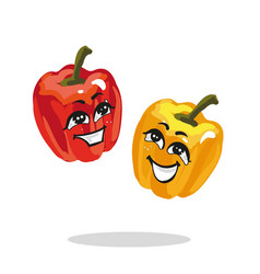 Cartoon characters red and yellow paprika loughing vector