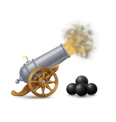 Cartoon shooting cannon with cannonballs vector