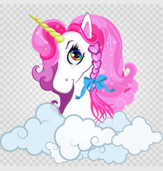 cartoon white pony unicorn head with pink hair vector image