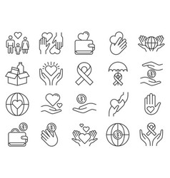 charity and donation icon hands donating money vector image
