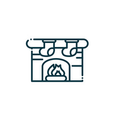 Chimney fire happy christmas line icon vector