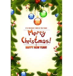 Christmas background with fir twigs vector image
