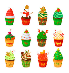 Christmas cupcakes set isolated vector