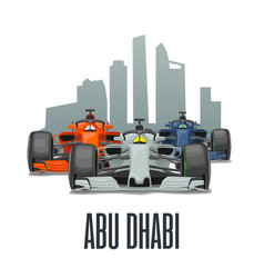 cityline abu dhabi and three racing cars on grand vector image