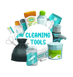 Cleaning tools round frame hygiene stuff vector