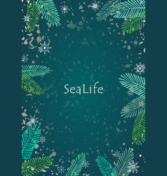 Coconut leaf with snowflake on green background vector