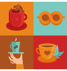 Coffee concepts and signs in flat style - cups and vector
