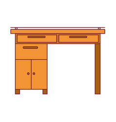 Colorful graphic of wooden home desk with drawers vector