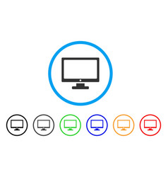 Computer display rounded icon vector