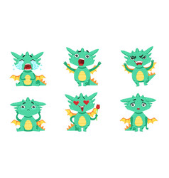 Cute green dragon cartoon character in different vector