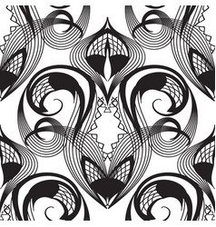 damask lace black and white seamless pattern vector image