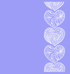 decorative vertical border from doodle hearts vector image
